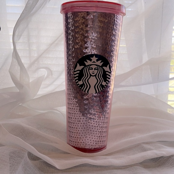 Rose pink sequin Starbucks Venti cup